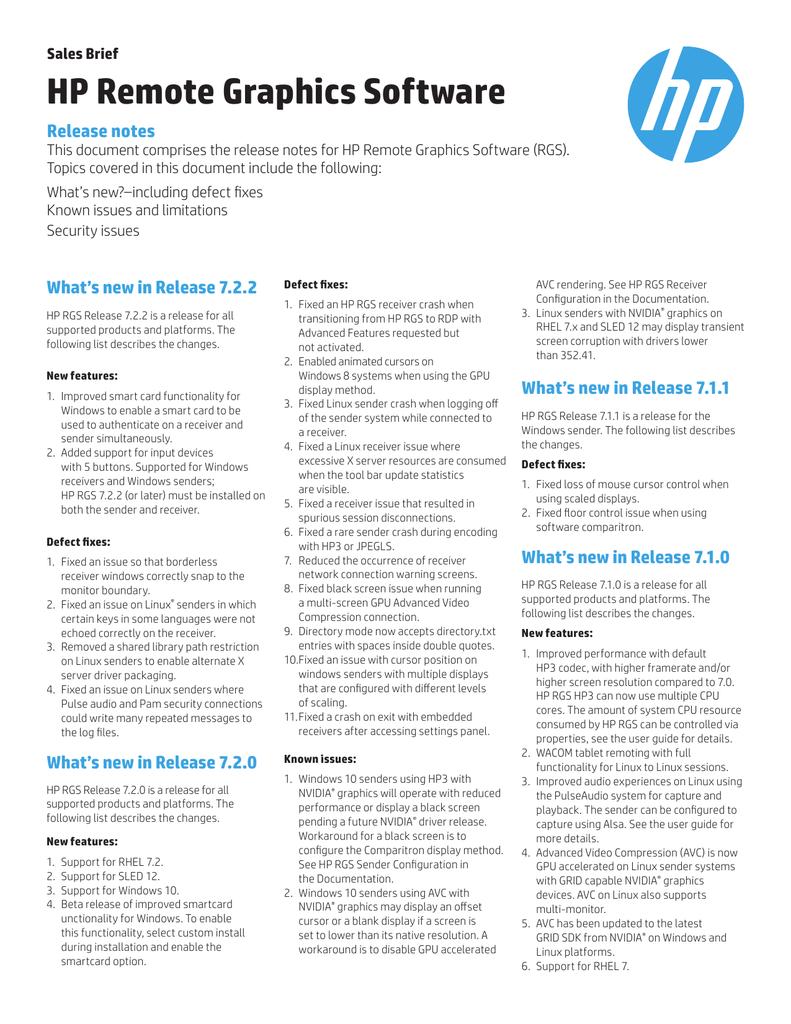 HP Remote Graphics Software - Product documentation | manualzz com