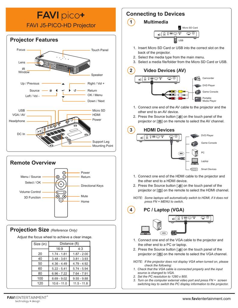 Favi J5 Pico Hd User Guide Manual Manualzz Com