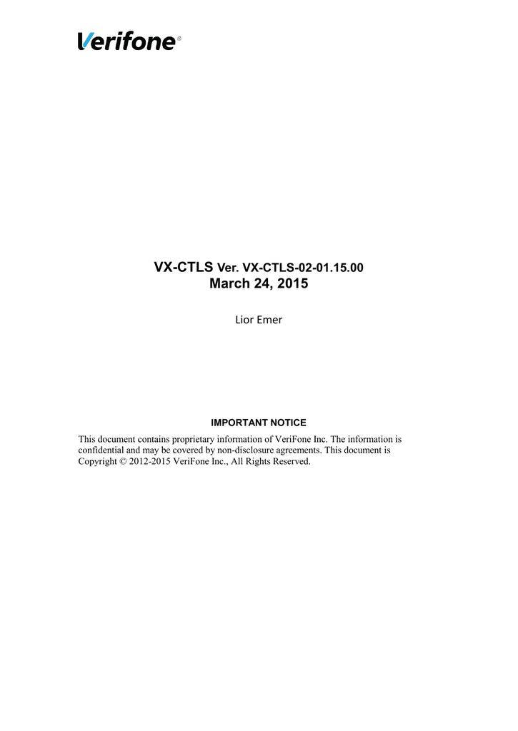 VX-CTLS-2-01 15 00 - Verifone Support Portal | manualzz com
