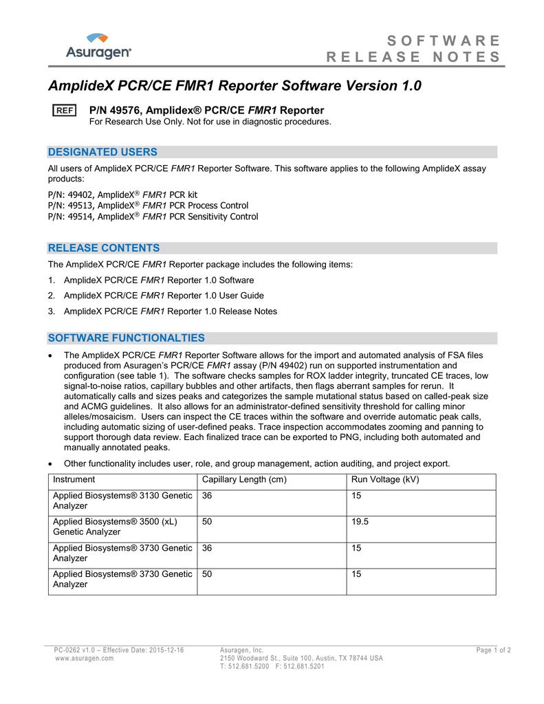 AmplideX ® PCR/CE FMR1 Reporter Release Notes | manualzz com