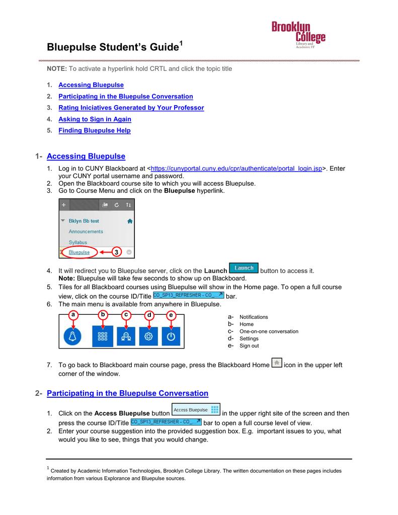 Bluepulse Student`s Guidelines - Brooklyn College | manualzz com