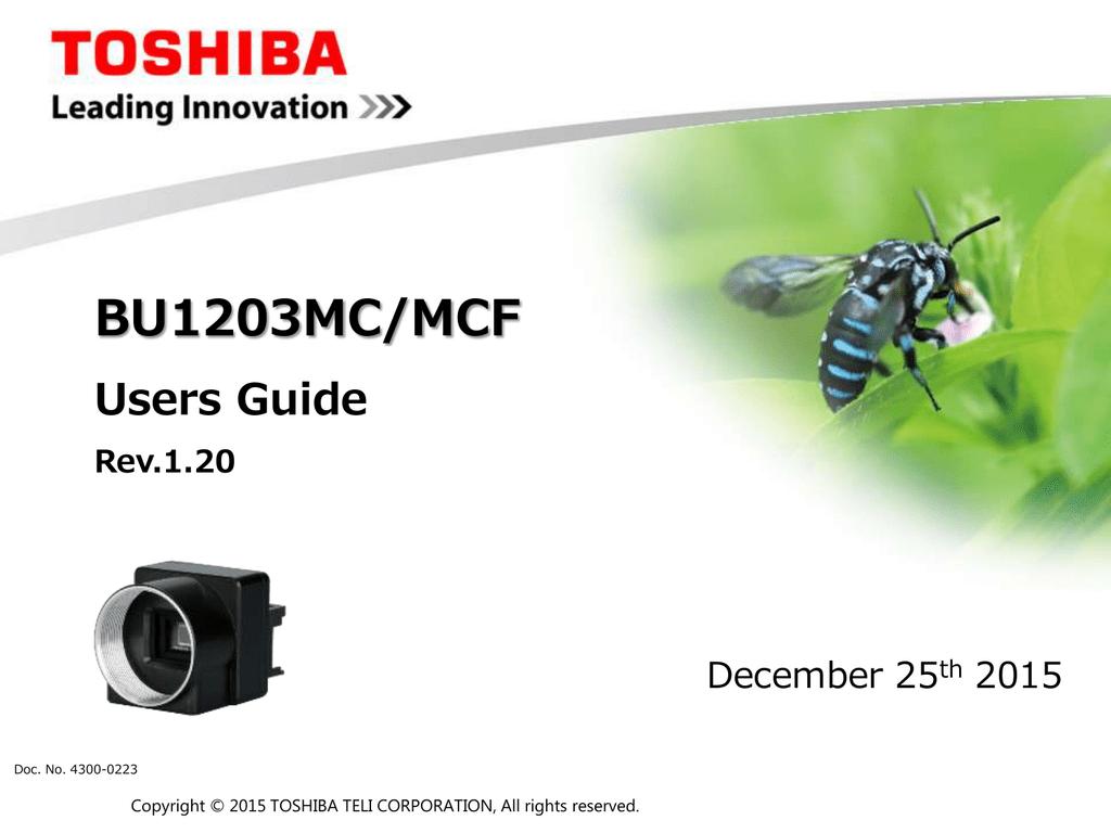 User`s guide of USB3 Vision camera BU1203MCF | manualzz com