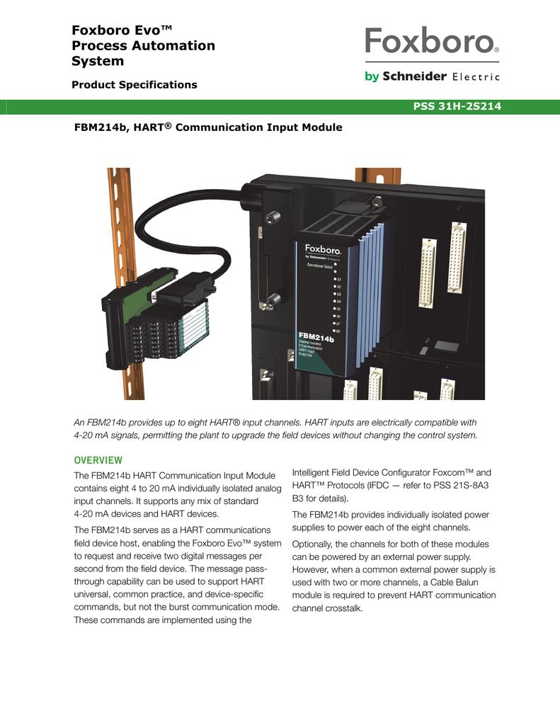 PSS 31H-2S214] FBM214b, HART Communication Input Module | manualzz com