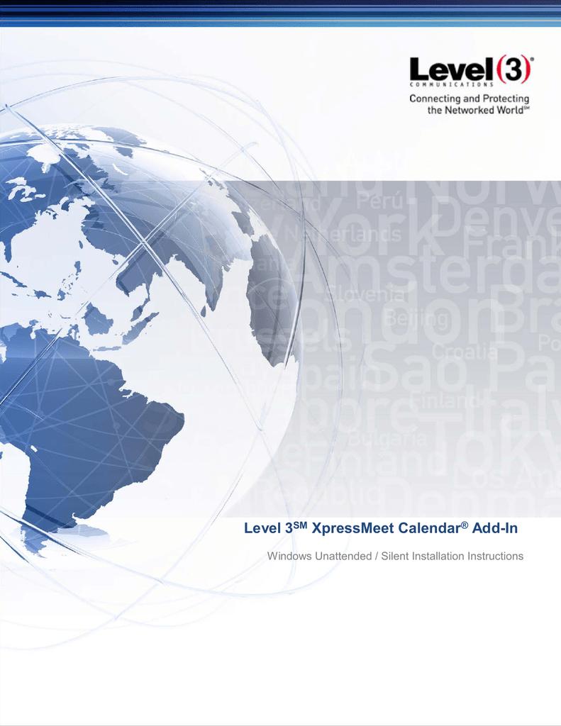 Level 3SM XpressMeet Calendar® Add-In   manualzz com