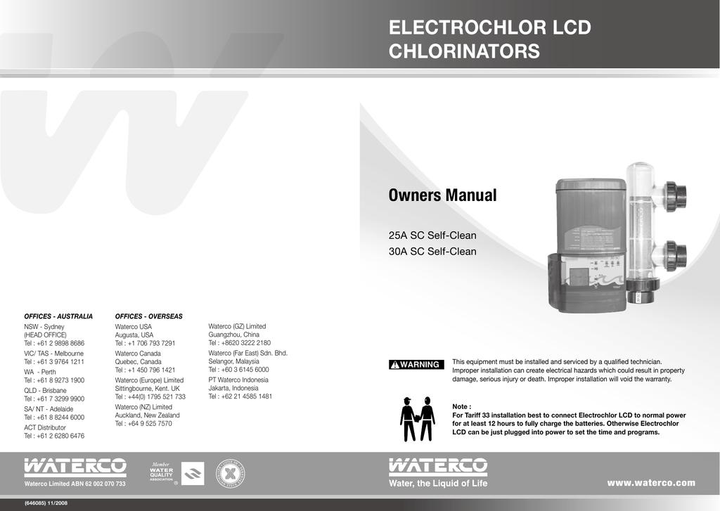 ELECTROCHLOR LCD CHLORINATORS Owners Manual | Manualzz