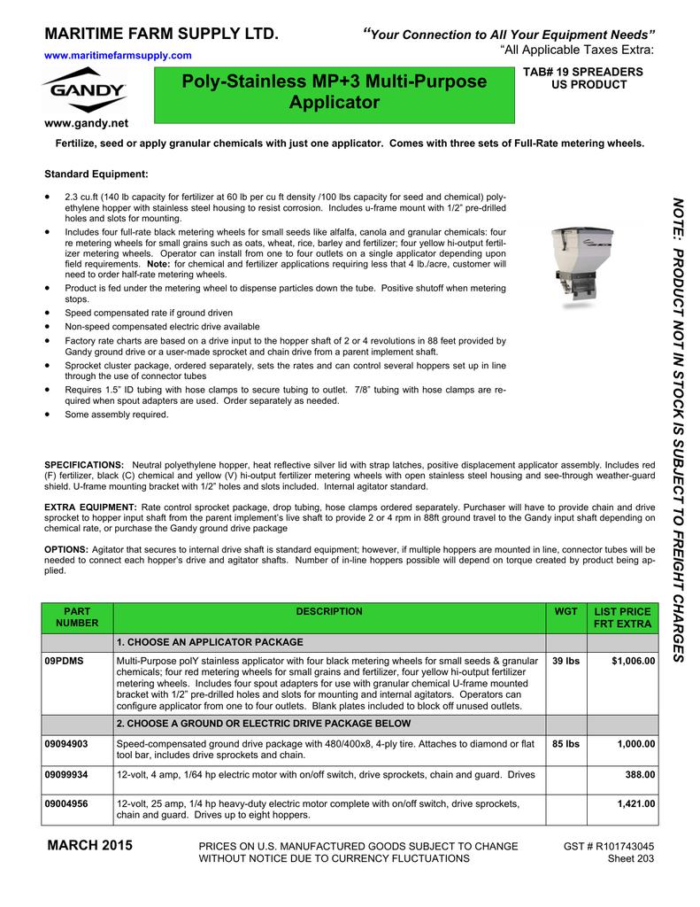 Sec 19 Spreaders Maritime Farm Supply Ltd Manualzz