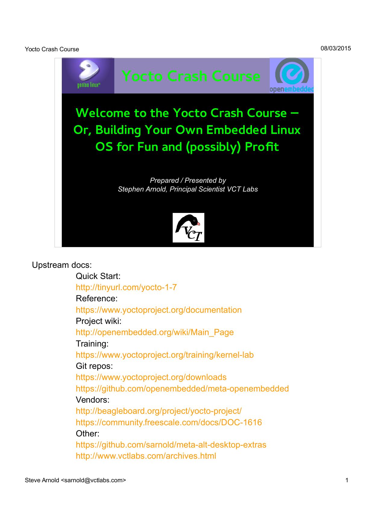 Yocto Crash Course | manualzz com