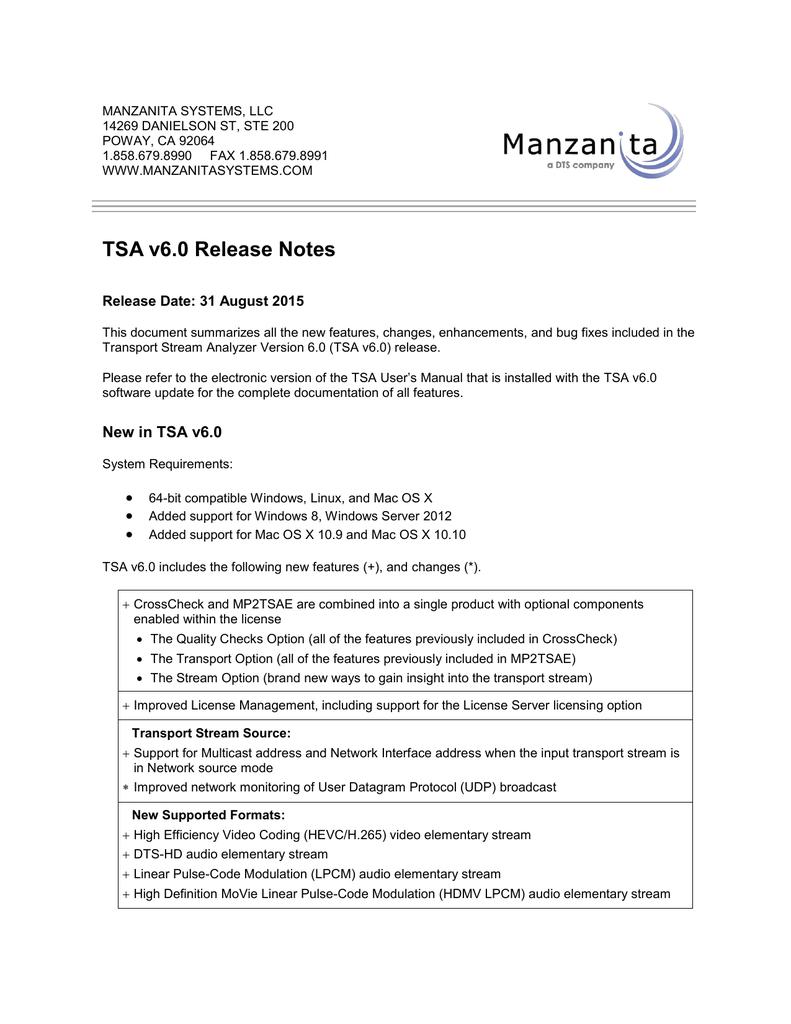 TSA v6 0 Release Notes   manualzz com