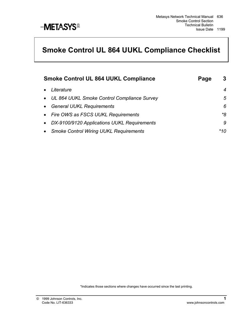 Terminal Dx 9100 Wiring Diagram Trusted Johnson Controls Diagrams Smoke Control Ul 864 Uukl Compliance Checklist Technical Bulletin