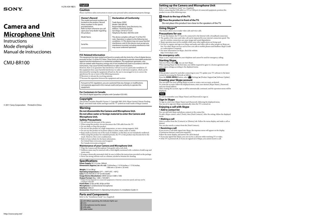 sony/CMU-BR100/CMUBR100_EN_ES_FR.pdf   Manualzz