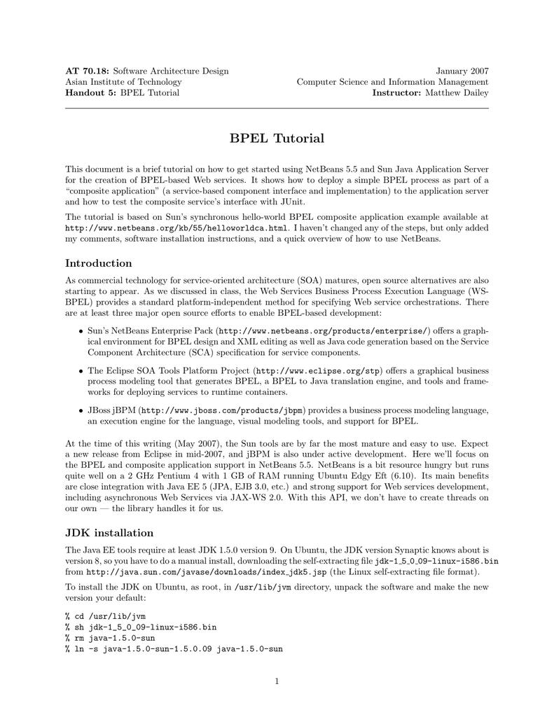 BPEL Tutorial [pdf] | Manualzz