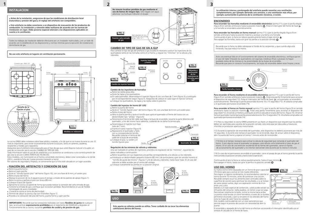 00058 029 Manual usuario e instalacion Cocina 4 hornallas orbis ...