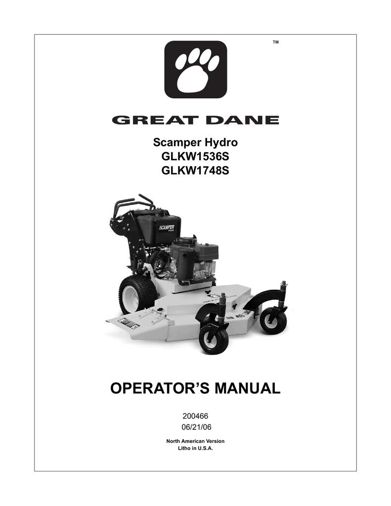 Great Dane 200466-GLKW1536S-GLKW1748S Owner's manual | Manualzz