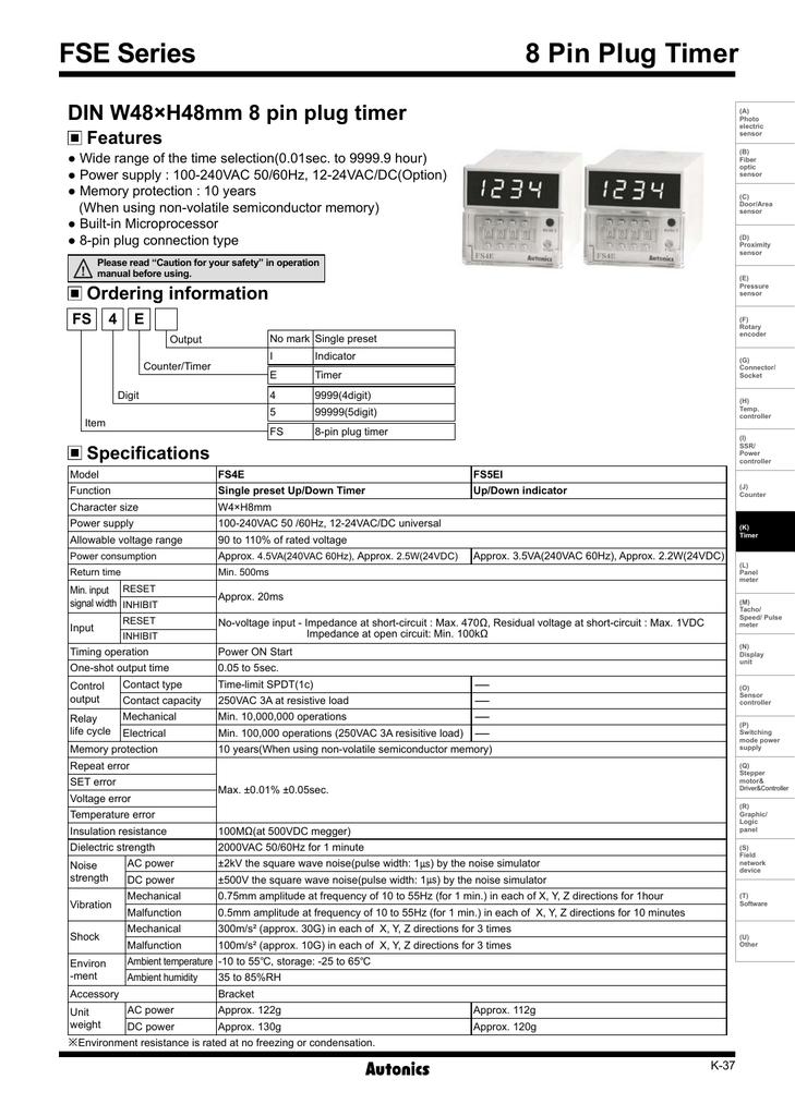 Bo dinh thoi Autonics dong FSE - Catalog.pdf | Manualzz