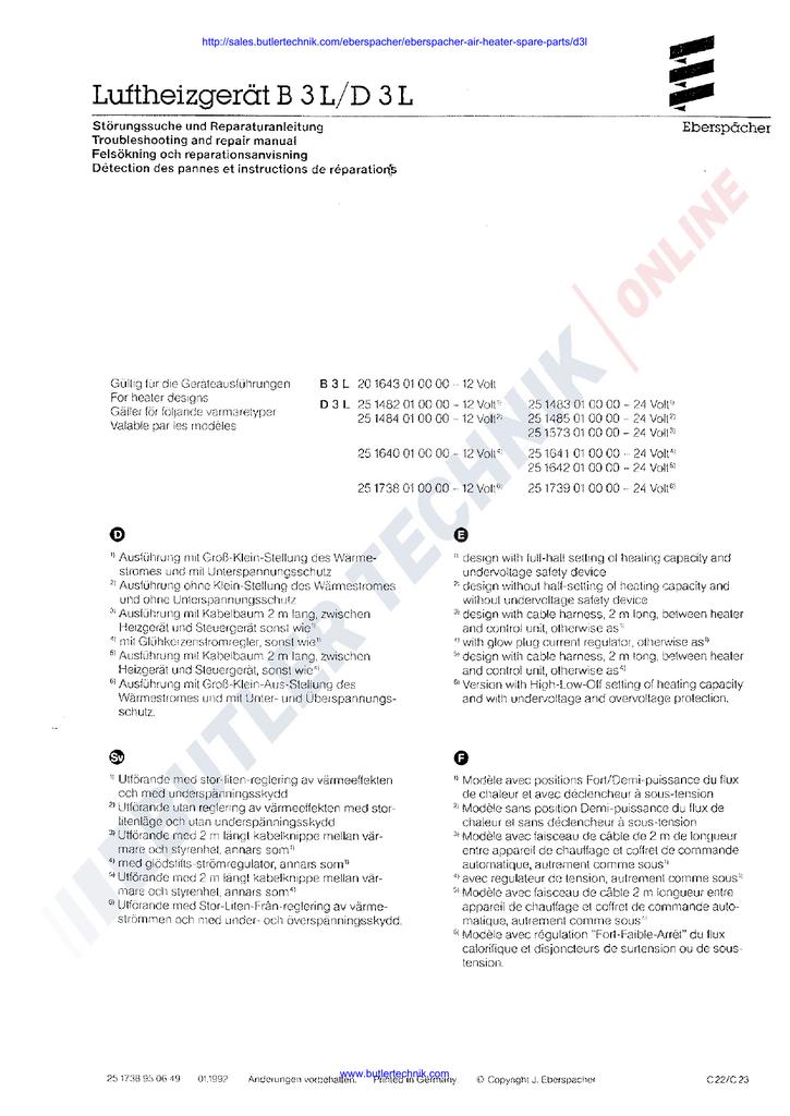 Eberspacher D3L B3L Workshop manual | manualzz.com