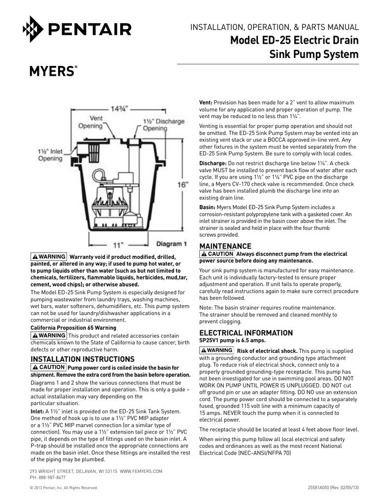 Model ED-25 Electric Drain Sink Pump System InstallatIon ... on