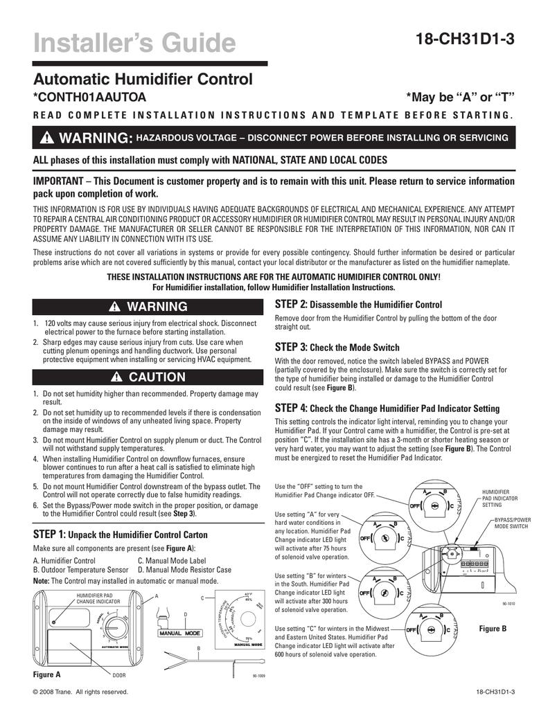Trane THUMD500 Control Installation Manual | manualzz.com
