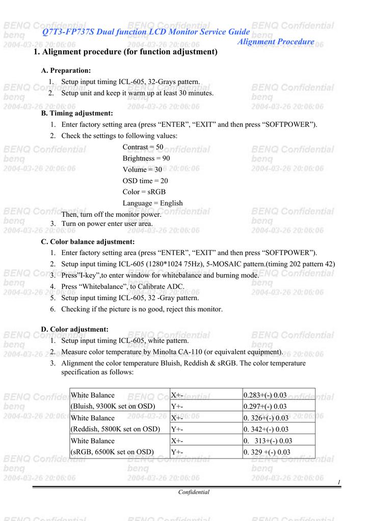 BENQ - FP 737 | manualzz com