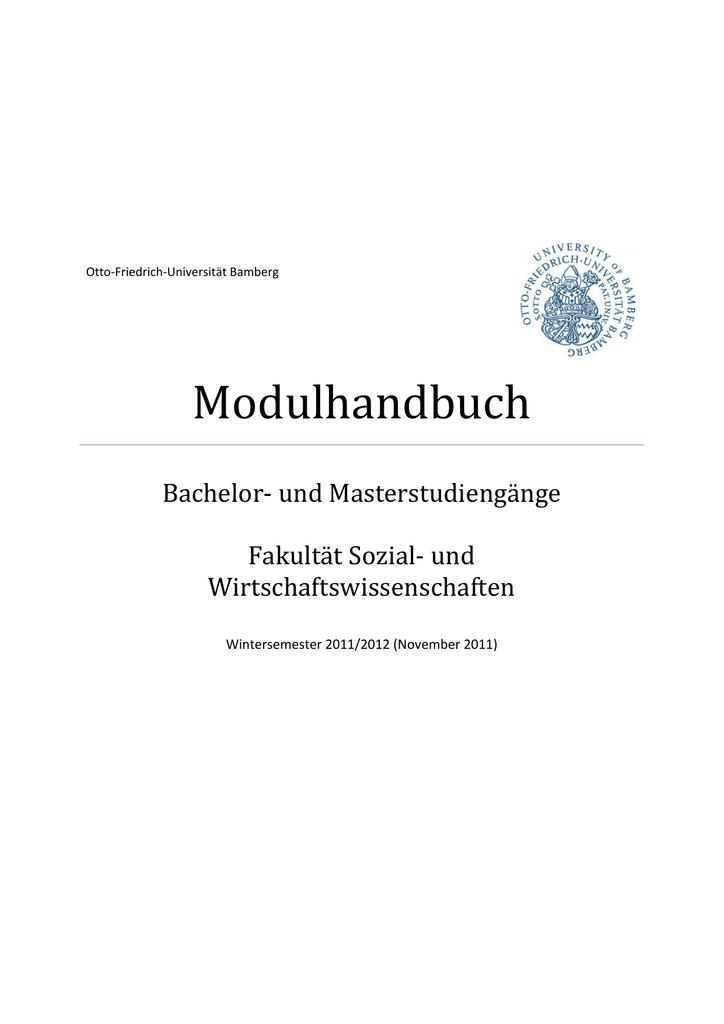 Modulhandbuch Bachelor‐ und Masterstudiengänge Fakultät Sozial‐ und ...