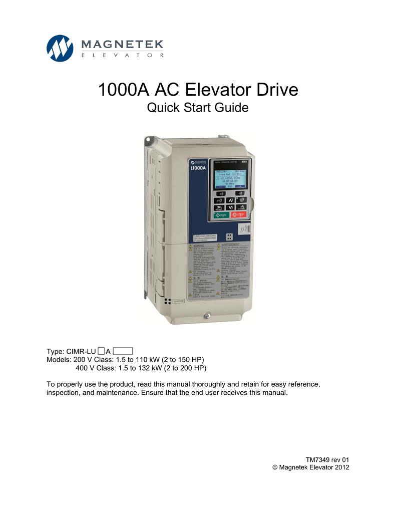 L1000A AC Elevator Drive Quick Start Guide