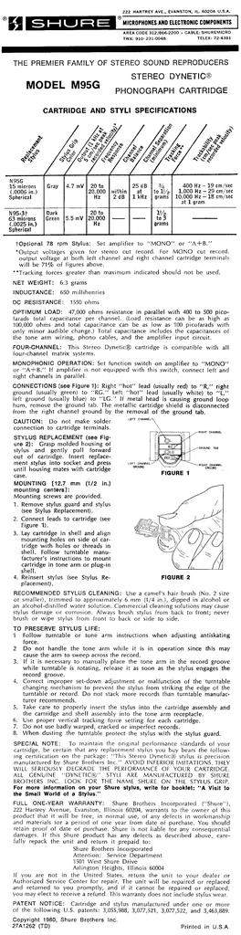 STEREO DYNETIC CARTRIDGE SHURE M95G GENUINE