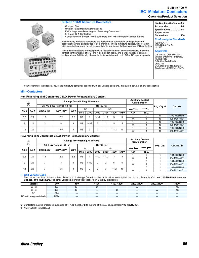 IEC Miniature Contactors Bulletin 100-M Overview/Product Selection