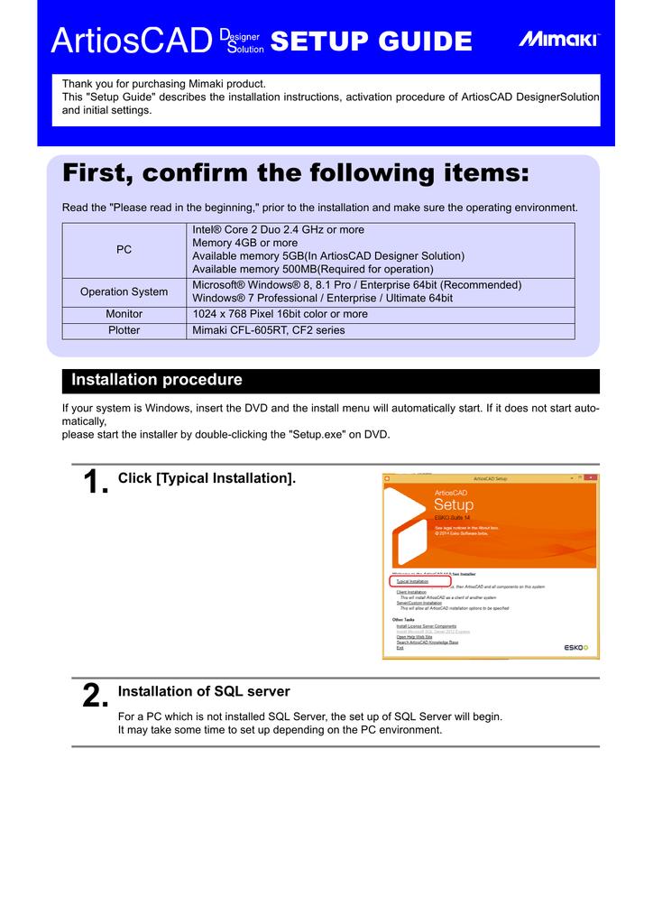 ArtiosCAD Setup Guide | manualzz com