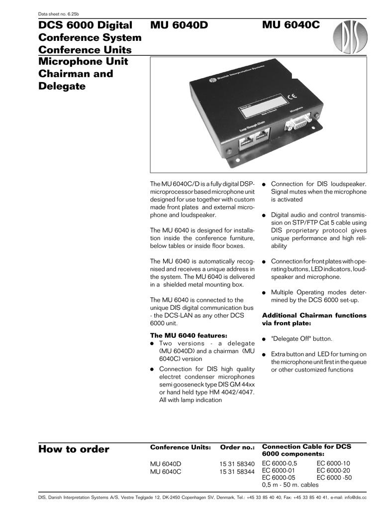 DCS 6000 Digital MU 6040D MU 6040C Conference System