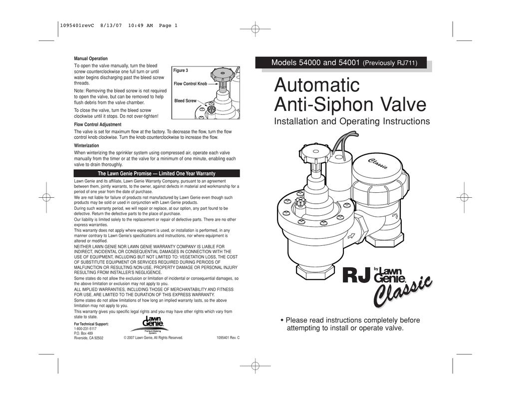[FPER_4992]  Lawn Genie Richdel 54000 01 Anti Siphon Valve | Manualzz | Lawn Genie Solenoid Wiring Diagram |  | manualzz