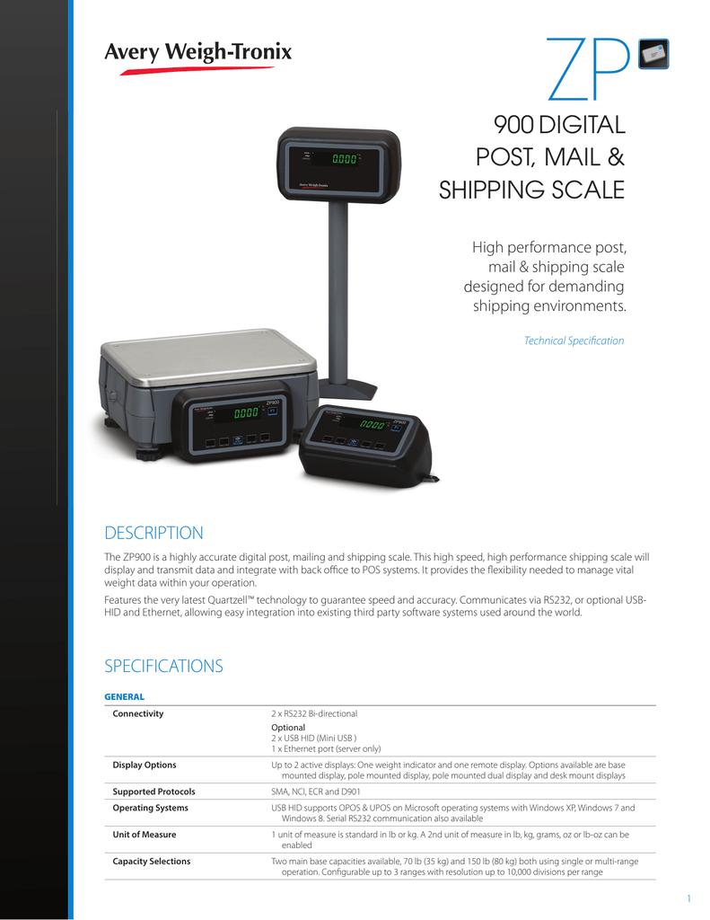 ZP900 Postal Scale Specification Sheet   manualzz com