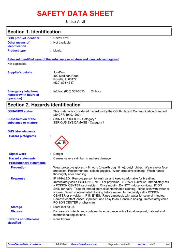 SAFETY DATA SHEET Section 1  Identification Unitex Anvil