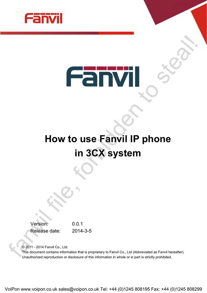 Fanvil 3CX User Guide   manualzz com