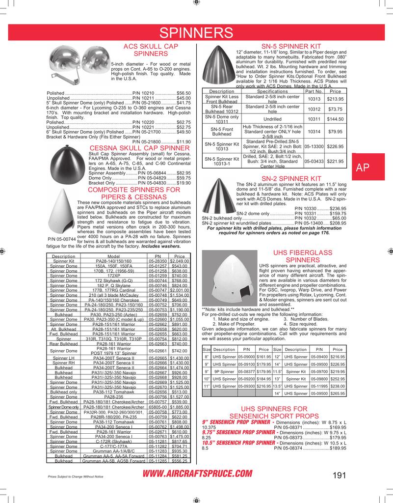 Page 191: Acs Skull Capspinners, Cessna Skull Cap Spinner