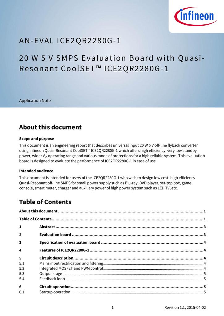 20W 5V SMPS Evaluation Board ICE2QR2280G-1   manualzz com