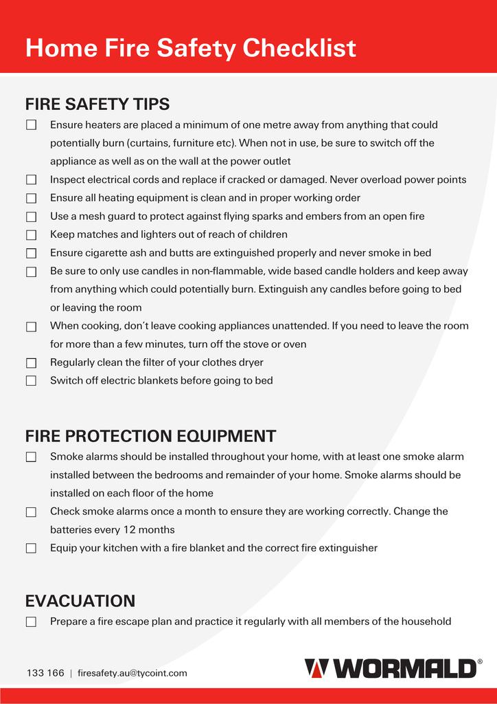 Home Fire Safety Checklist   manualzz.com Fire Safety Checklist Home Plans on nursing home checklist, medical home checklist, home maintenance checklist, winter safety checklist, travel home checklist, cleaning home checklist,