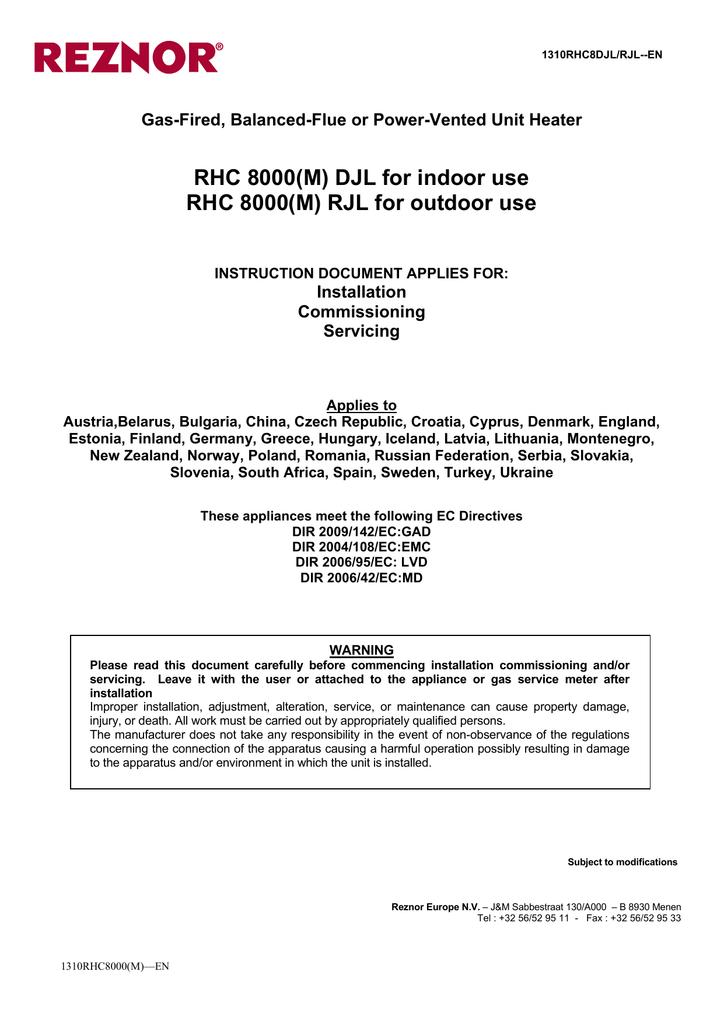 RHC 8000(M) DJL for indoor use | manualzz.com on