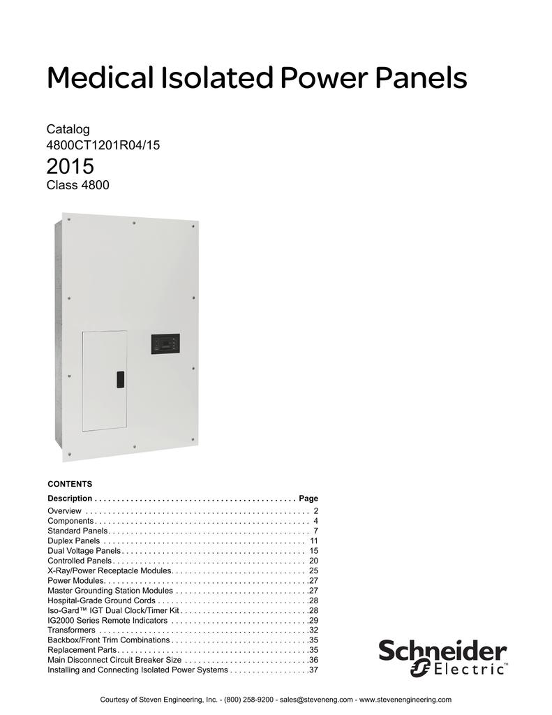 Medical Isolated Power Panels | manualzz.com on
