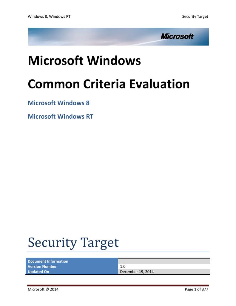 Microsoft Windows Common Criteria Evaluation Security Target