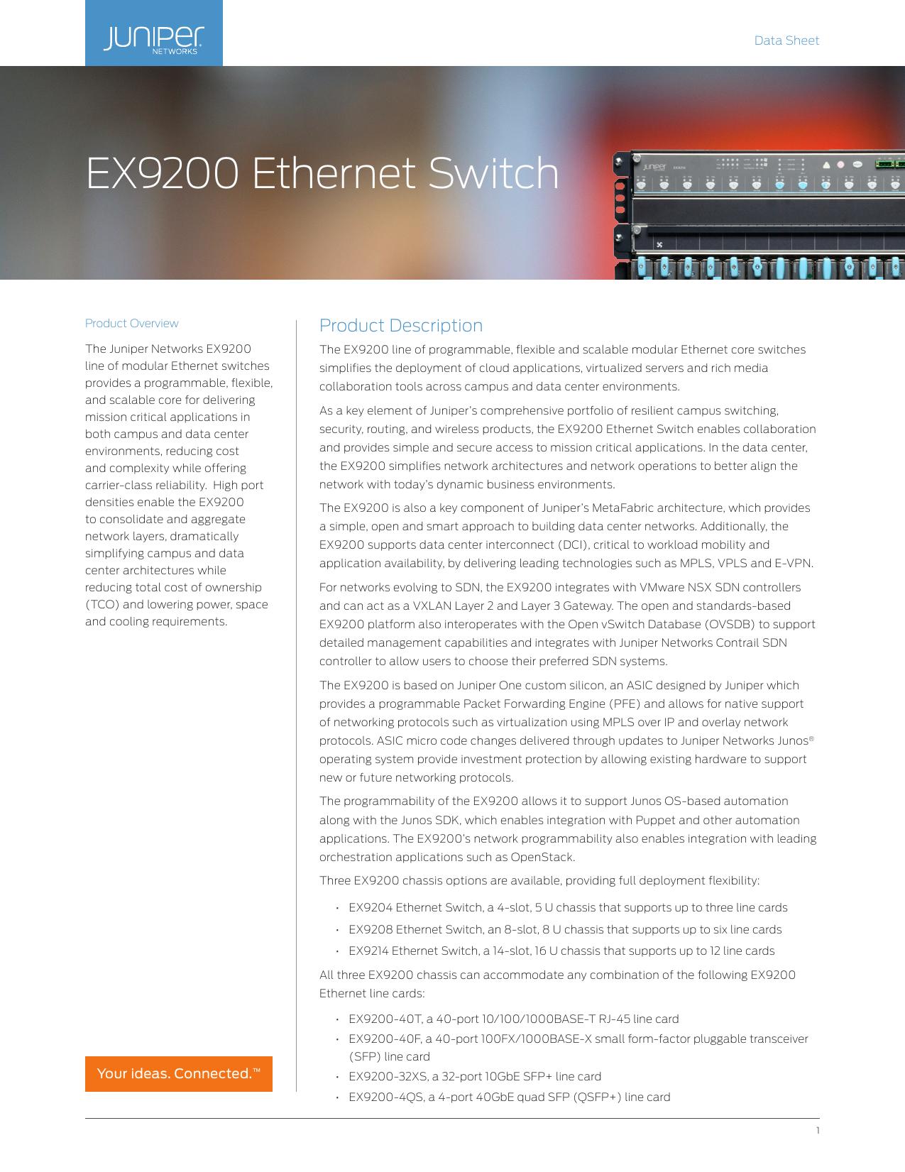 Datasheet: EX9200 Ethernet Switch   manualzz com
