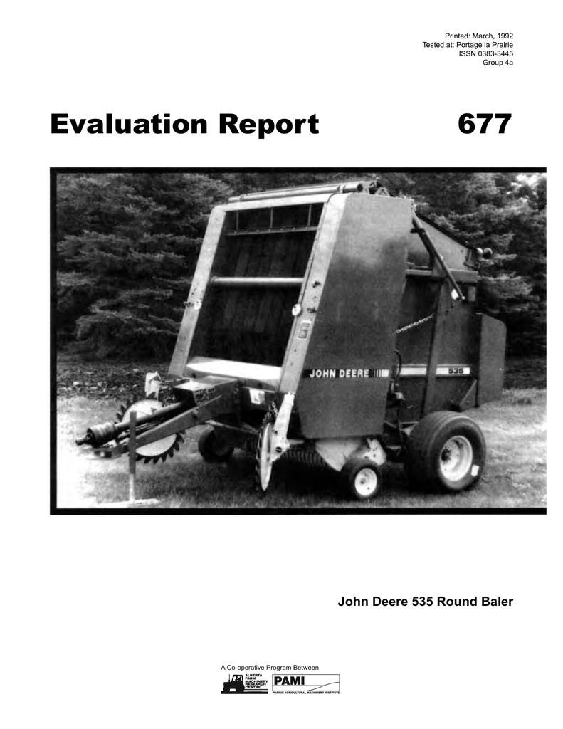 677 John Deere 535 Round Baler (1992) | manualzz com