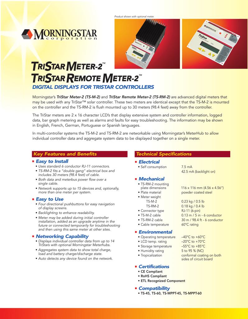 Energy Controllers Morningstar TS-M-2 TriStar Digital Meter LCD RJ ...