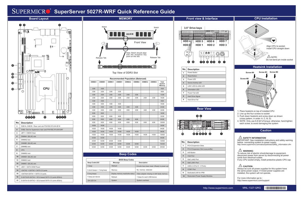 Спецификация SuperMicro 5027R   manualzz com
