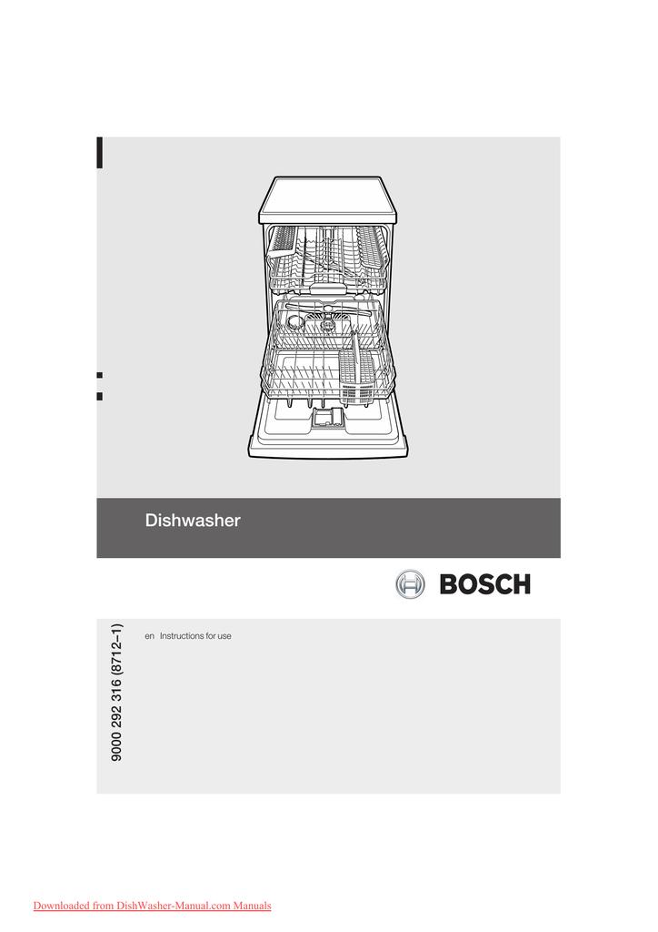 Bosch Sms 63m02 Dishwasher User Guide Manual Pdf Manualzz