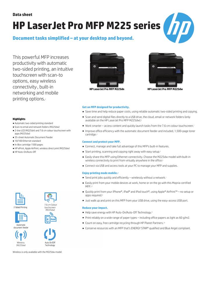 HP LaserJet Pro MFP M225 series | manualzz com