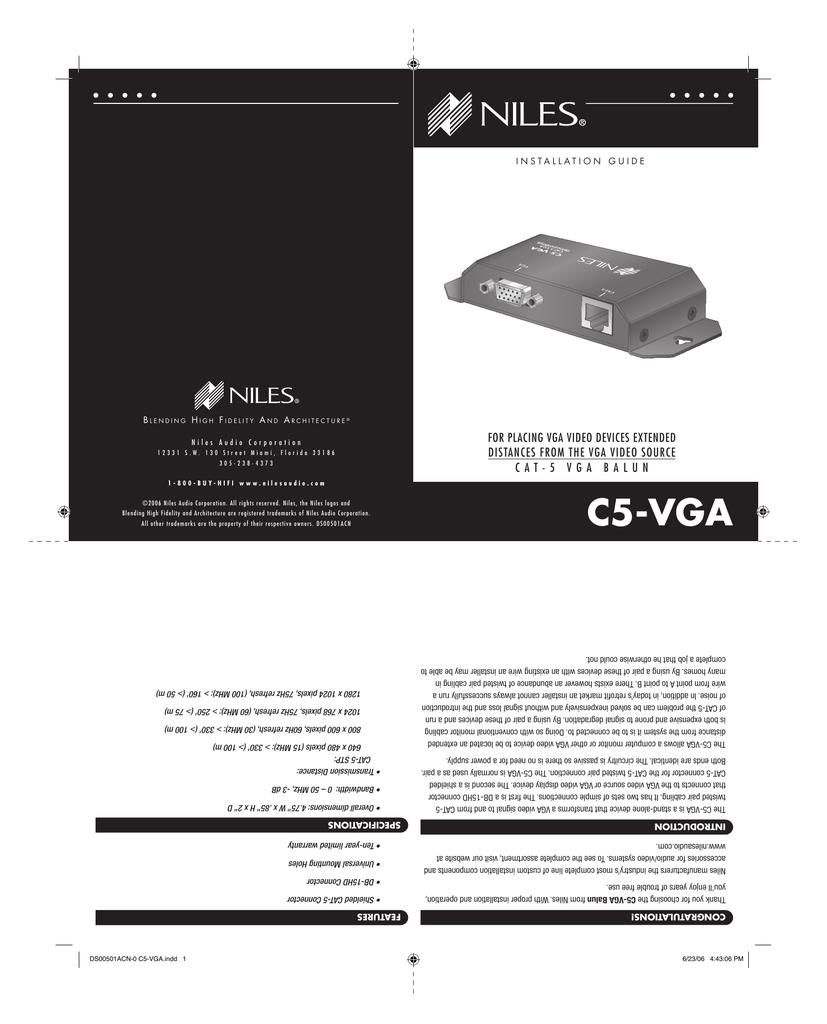 Niles C5-VGA Cat5 VGA Video Balun Installation Guide (345KB ... on