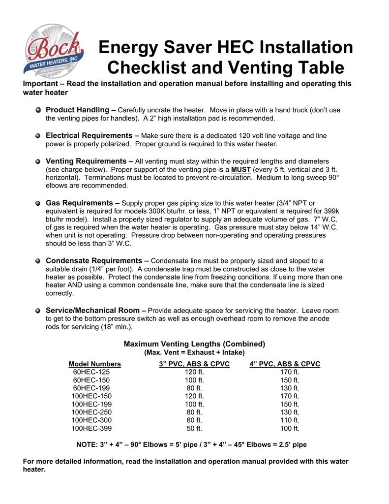 HEC Installation Checklist and Vent Table | manualzz com