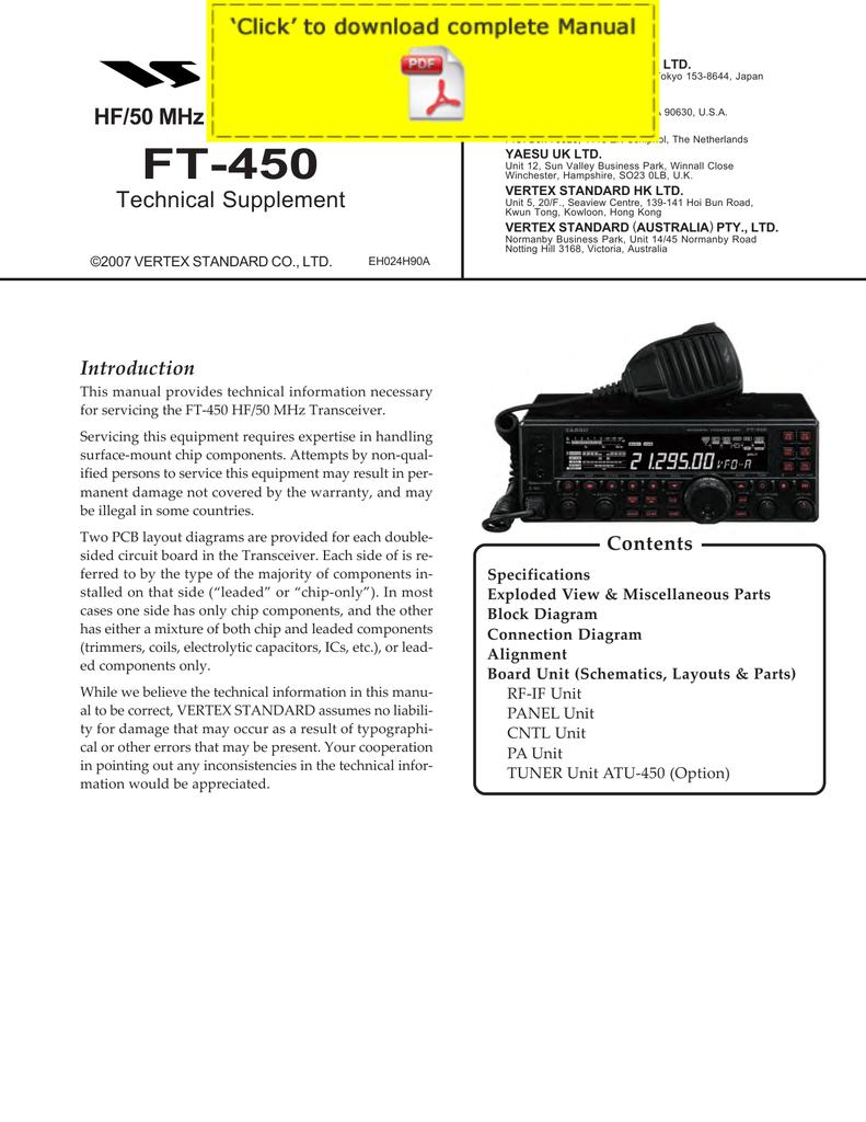 yaesu ft-450 service manual pages
