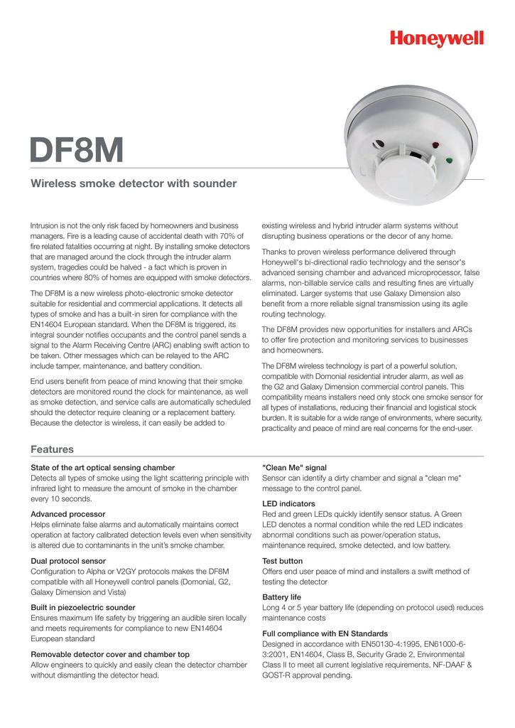 Honeywell Security Df8m Intruder Detectors Datasheet Manualzz