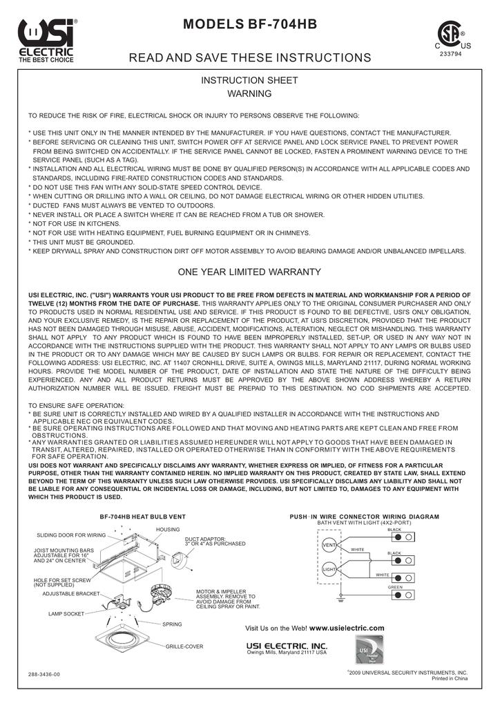 BF-704HB Bath Fan Manual for USI Electric Bath Exhaust Fan with
