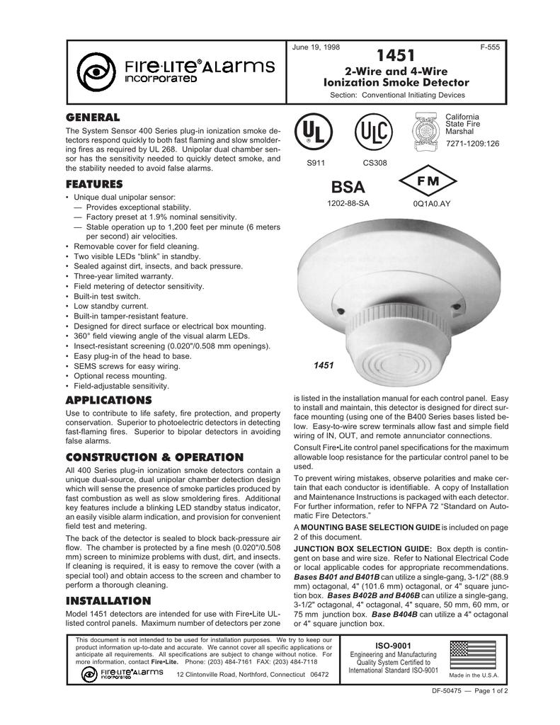 1451 Smoke Detector | manualzz.com on